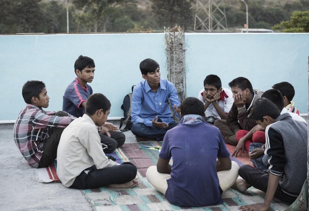 1. Mentor - Pravin Katke facilitating a session of Action for Equality Programme in Vikas Nagar in Pune